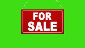Ett affärstecken som säger: Till salu Det livliga brädet faller och svänger Stämd grön skärm för alfabetisk kanal lager videofilmer