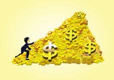Ett affärsfolk som klättrar en hög av det guld- myntet och guldtacka Fotografering för Bildbyråer