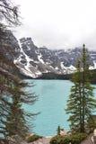 Ett annat perspektiv av morän sjön Kanada arkivfoto
