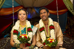 Interracial indiskt bröllop Arkivbilder