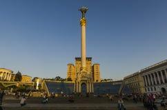 Ett av symbolerna av den Kiev självständighetfyrkanten (Maidan Nezalezhnosti) i mitten av staden Royaltyfria Bilder