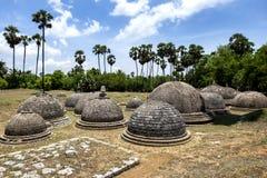 Ett avsnitt av de 20 synliga stupasna på Kathurugoda forntida Vihara Royaltyfria Foton