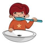 Ett barn borstar hans tänder med en tandborste över vasken Pojke p? vit stock illustrationer