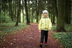 Ett barn går på skog arkivfoto