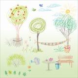 Ett barns teckning i vektor Sommarträdgård med en hängmatta, en ben Arkivbild
