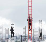Ett begrepp av konkurrens och problemlösning Arkivfoto