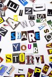 Ett begrepp för visning för ordhandstiltext av AKTIEN som DIN BERÄTTELSE gjorde av den olika tidskrifttidningsbokstaven för affär fotografering för bildbyråer