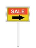 Ett begreppsmässigt tecken på försäljning som isoleras på vit Fotografering för Bildbyråer