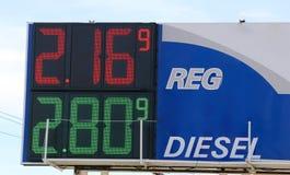 Ett bensinstationtecken visar bensinpriser Royaltyfria Bilder
