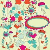 Ett blom- kort med stället för din text i den ovala asken Arkivbild