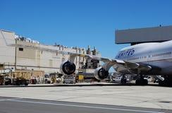 Ett Boeing 747-400 flygplan från United Airlines UA Fotografering för Bildbyråer
