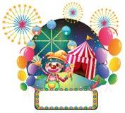 Ett bräde med serieljus framme av den kvinnliga clownen Royaltyfri Fotografi