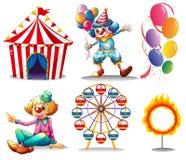 Ett cirkustält, clowner, ferrishjul, ballonger och en cirkel av brand Arkivfoto