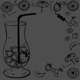 Ett coctailexponeringsglas stock illustrationer