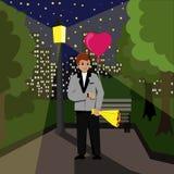 Ett datum i parkerar, väntar grabben på hans flickvän med en bukett och enformad ballong Natten parkerar och stock illustrationer