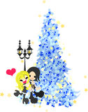 Ett datum under den blåa julgranen Arkivbilder