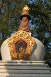 Ett dekorerat torn av Swayambhunath Stupa i Katmandu, Nepal Arkivfoto