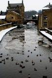 Ett djupfrysta River Aire, Skipton Arkivfoton