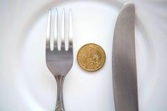 Ett dollarmynt på en vit platta royaltyfri foto