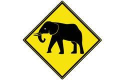 Ett elefantvarningstecken Arkivfoto