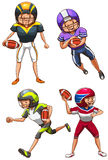 Ett enkelt färgat skissar av de amerikanska fotbollsspelarna Royaltyfri Foto