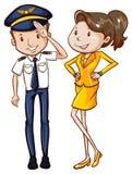 Ett enkelt färgat skissar av en pilot och en lyxfnask stock illustrationer
