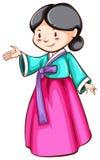 Ett enkelt skissar av en asiatisk flicka Arkivfoto