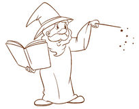 Ett enkelt skissar av en trollkarl royaltyfri illustrationer