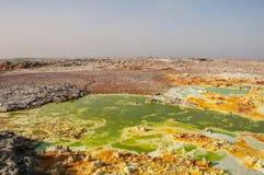Ett enormt grönt fält med gula fläckar av svavel- volcanoes för lava, öknen av Danakil, den avlägsna handfatet, norden av Etiopie Arkivbilder
