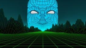 Ett enormt huvud i en digital värld royaltyfri illustrationer