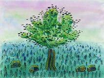 Ett enormt träd som växer i mitt av en by royaltyfri illustrationer