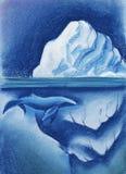 Ett enormt vitt isberg i den arktiska himlen för stjärnklar natt blått val Målat med pastell på pappersillustration stock illustrationer