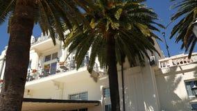Ett enormt vitt mång--våning gods i palmträd Herceg Novi, måndag arkivfilmer