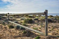 Ett ensligt staket på en strand royaltyfri fotografi