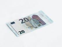 Ett euro för sedelvärde som 20 isoleras på en vit bakgrund Arkivbilder