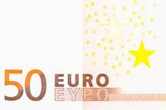 Ett euro för sedel 50 Arkivfoto