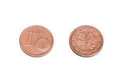 Ett eurocent mynt Arkivfoton