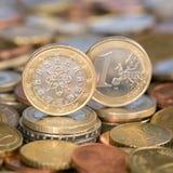 Ett euromynt Portugal Arkivfoton