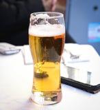 Ett exponeringsglas av öl royaltyfri bild