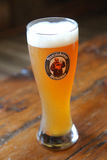 Ett exponeringsglas av öl Franziskaner Weissbier för tyskt vete royaltyfria bilder