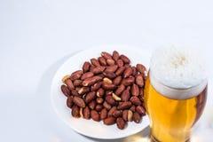 Ett exponeringsglas av öl och jordnötter i tefatet royaltyfri bild