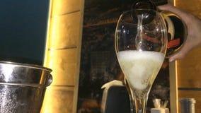 Ett exponeringsglas av champagne i en nattklubb stock video