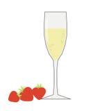 Ett exponeringsglas av champagne med jordgubbar på en vit bakgrund Royaltyfri Fotografi