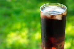 Ett exponeringsglas av cola med mintkaramellsidor mot bakgrunden av nytt grönt gräs Ett begrepp för läsk arkivfoton