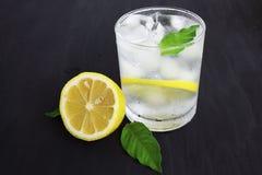 Ett exponeringsglas av kallt vatten med omkring is, citronen och mintkaramellen p? en bl? bakgrund arkivbild
