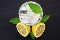 Ett exponeringsglas av kallt vatten med omkring is, citronen och mintkaramellen p? en bl? bakgrund arkivfoto