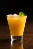 Ett exponeringsglas av kyld orange fruktsaft Arkivbild