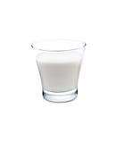 Ett exponeringsglas av mjölkar på vit Arkivbild