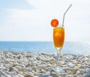 Ett exponeringsglas av ny orange fruktsaft med is- och morotskivan på vit Arkivfoto