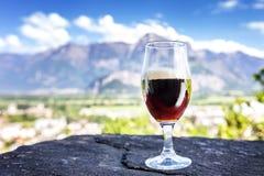 Ett exponeringsglas av nytt öl på bakgrunden av bergen royaltyfri foto
